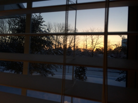 Sunrise from my chair.  Not as scenic as the beach, but still miraculous every time.